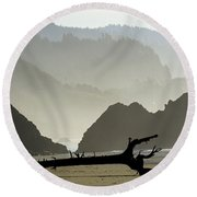 Oregon Coastal Beach Round Beach Towel