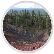 Oregon Landscape - Crater At Lava Butte Round Beach Towel