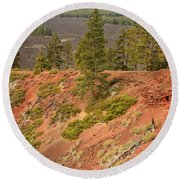 Oregon Landscape - Red Crater Round Beach Towel