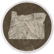 Oregon Map Music Notes 3 Round Beach Towel