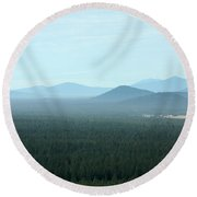 Oregon Misty Mountains Round Beach Towel