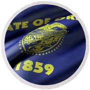 Oregon State Flag Round Beach Towel