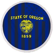 Oregon State Flag Graphic Usa Styling Round Beach Towel