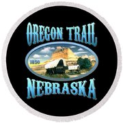 Oregon Trail Nebraska History Design Round Beach Towel