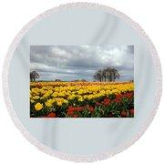 Oregon Tulip Fields 2 Photograph Round Beach Towel