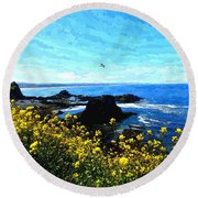 Oregon Wild Flowers Water Color Round Beach Towel
