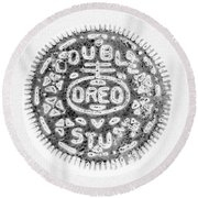 Oreo In Negetive Round Beach Towel