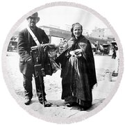 Organ Grinder, 1897 Round Beach Towel
