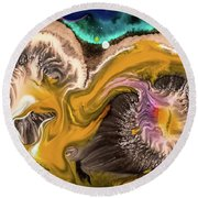 Organic Abstract Round Beach Towel