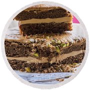 Organic Coffee And Pistachio Cake A Round Beach Towel