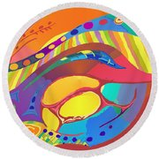Organic Life Scan Or Cellular Light - Blood Round Beach Towel