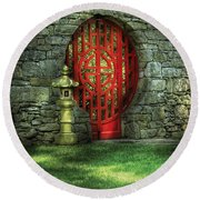 Orient - Door - The Moon Gate Round Beach Towel