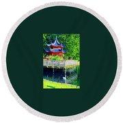 Orient Swan Pagoda Round Beach Towel