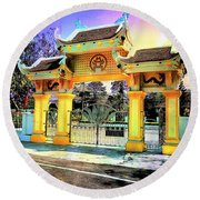 Oriental Gateway Round Beach Towel
