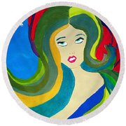Japanese Mermaid Bubbles  Round Beach Towel