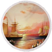 Oriental Sailor Chiefs Gathered For A Meeting On The Shores Of The Black Sea Round Beach Towel