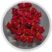 Origami Flowers Round Beach Towel