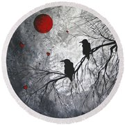 Original Abstract Surreal Raven Red Blood Moon Painting The Overseers By Madart Round Beach Towel