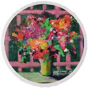 Original Bouquetaday Floral Painting By Elaine Elliott 59.00 Incl Shipping 12x12 On Canvas Round Beach Towel