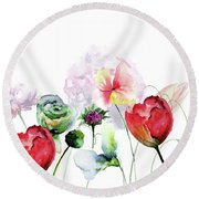 Original Floral Background With Flowers Round Beach Towel