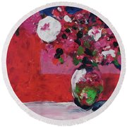 Original Floral Painting By Elaine Elliott, 12x12 Acrylic And Collage, 59.00 Incl. Shipping, Contemp Round Beach Towel
