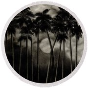 Original Moonlit Palm Trees  Round Beach Towel