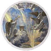 Sixth Trumpet Angel Round Beach Towel
