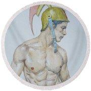 Original Watercolor Painting Male Nude Man #17511 Round Beach Towel