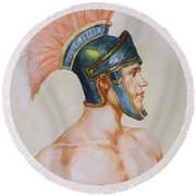 Original Watercolour Painting Art Male Nude Portrait Of General  On Paper #16-3-4-19 Round Beach Towel