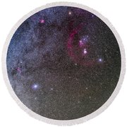 Orion And Canis Major With The Dog Star Round Beach Towel