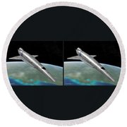 Orion IIi - Gently Cross Your Eyes And Focus On The Middle Image Round Beach Towel