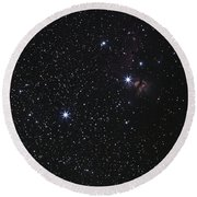 Orions Belt, Horsehead Nebula And Flame Round Beach Towel by Luis Argerich