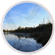 Orion's Lake At Sunset Round Beach Towel
