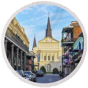 Orleans Street And St Louis Cathedral Round Beach Towel