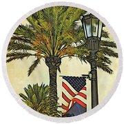 Ormond Beach Patriotic Round Beach Towel