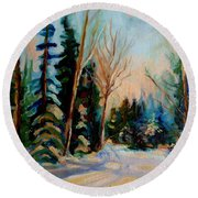 Ormstown Quebec Winter Road Round Beach Towel