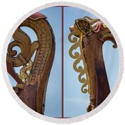 Ornamental Dragon Diptych Round Beach Towel