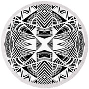 Ornamental Intersection - Abstract Black And White Graphic Drawing Round Beach Towel