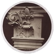 Ornamental Sculpture From The Paris Opera House (column Detail) Round Beach Towel