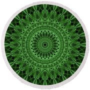 Ornamented Mandala In Green Tones Round Beach Towel