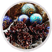 Ornaments 6 Round Beach Towel