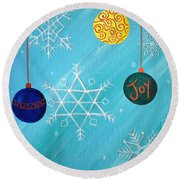 Ornaments And Snowflakes Round Beach Towel