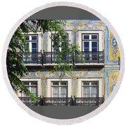 Ornate Building Facade In Lisbon Portugal Round Beach Towel