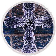 Ornate Cross 2 Round Beach Towel