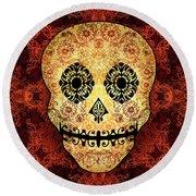 Ornate Floral Sugar Skull Round Beach Towel
