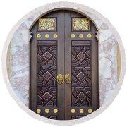 Ornately Decorated Wood And Brass Inlay Door Of Sarajevo Mosque Bosnia Hercegovina Round Beach Towel