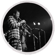 Ornette Coleman On Trumpet Round Beach Towel