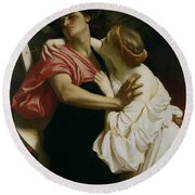 Orpheus And Euridyce Round Beach Towel by Frederic Leighton