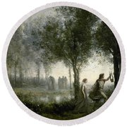 Orpheus Leading Eurydice From The Underworld Round Beach Towel by Jean-Baptiste-Camille Corot