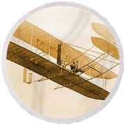 Orville Wright In Wright Flyer 1908 Round Beach Towel